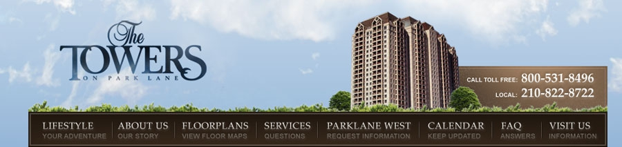 The Towers on Park Lane Website Design, Homepage Design